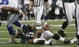 Donovan McNabb gets sacked near the goal line in the fourth quarter. Michael Bryant / Staff Photographer