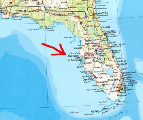 Palm Harbor is north of Clearwater, St. Petersburg, and Tampa on the west coast of the state.