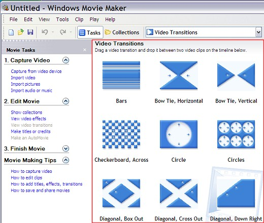 Video transitions in Windows Movie Maker