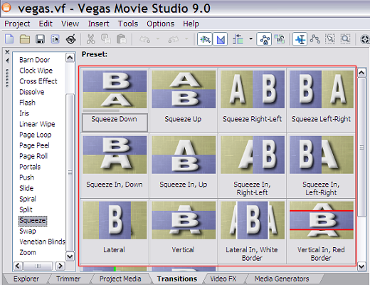 Some of the video transitions in Vegas Movie Studio