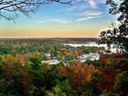 The view of Downtown Saugatuck from the top of Mount baldhead in early fall. You should see it at it's peak. It's beautiful.