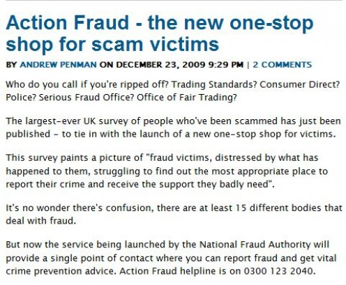 Action Fraud - New Helpline!