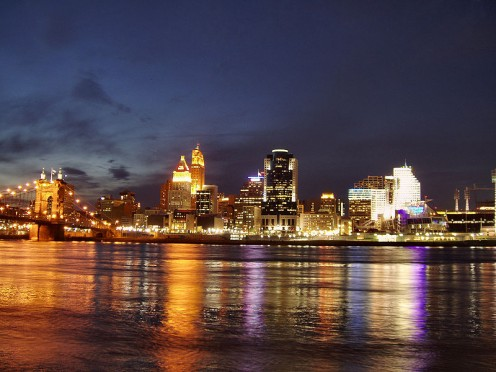 Cincinnati Skyline as seen from the Kentucky side of the Ohio river.