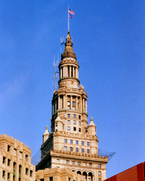 The Terminal Tower's distinctive cap in the Cleveland skyline