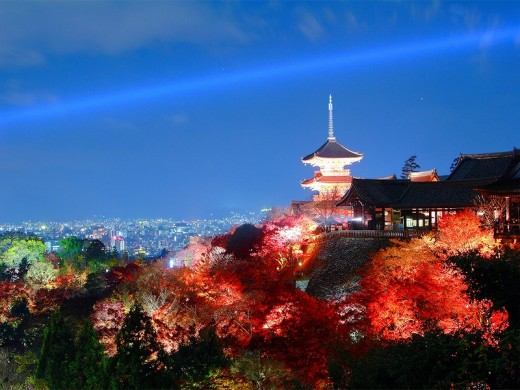 Kiyomizu-dera and Kyoto at Night