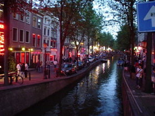 The red light district De Wallen in Amsterdam