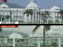 The Presidential Palace before the earthquake, and after. (source: lcn.canoe.ca)