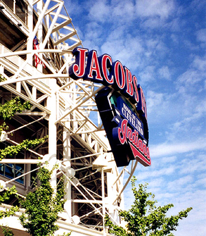Jacobs Field's primary ID sign, by ZZ Design