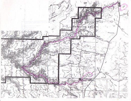 Map of Grand Gulch in southeastern Utah