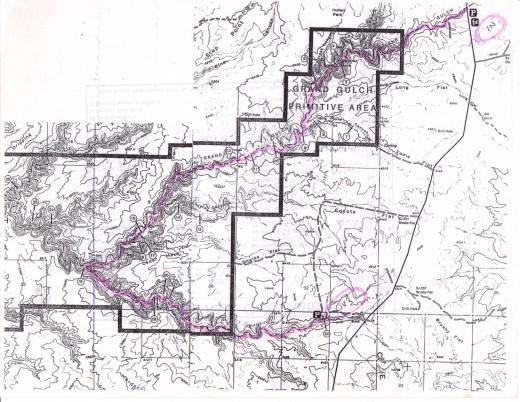 Map of Grand Gulch in southeastern Utah