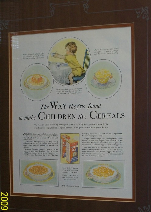 Puffed cereal.  Nutritious cereal advertised for children, a new inventive way to delight.