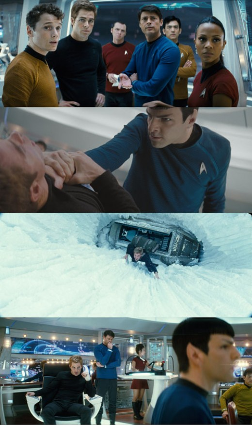 "A decollage of scenes from ""Star Trek"""