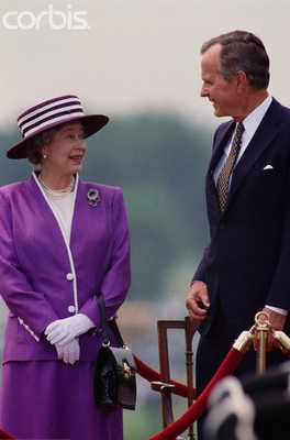 Queen Elizabeth with George Bush