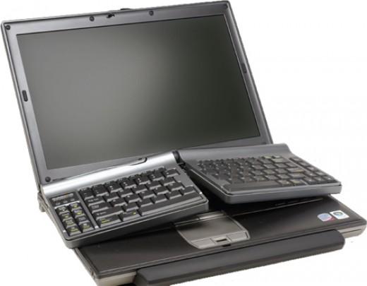 Goldtouch ergonomic keyboard for laptops.