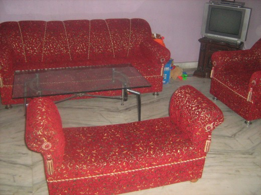 My reupholstered sofa at my home