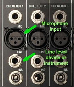 Audio mixer input connectors