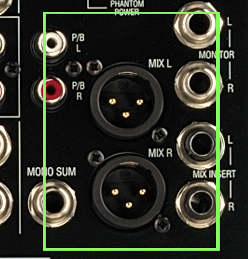Left and Right Main Outputs of an Audio Mixer