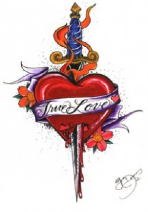 Red and pink double heart charm from Bombay Duck. Neon pink True Love tattoo