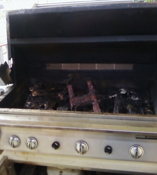This 8 yr old built in Jenn Air grill by NexGrill was in an outdoor kitchen and had to be repaired.  Burners, venturis, valves, heat plate briquette trays, ignitors, cooking grates and knobs had to be replaced.