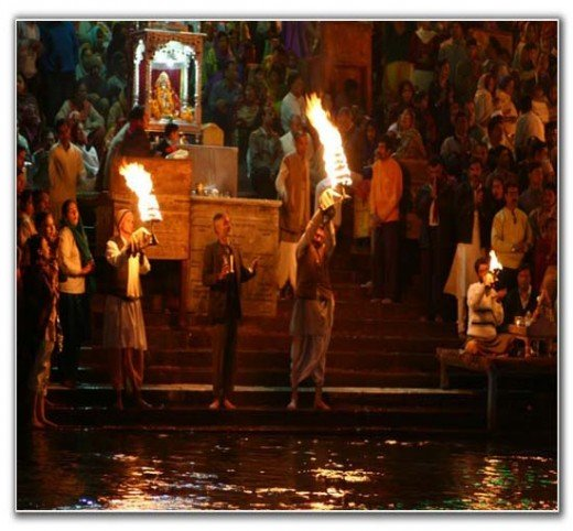 People performing Aarti at haridwar