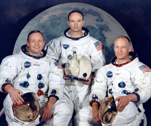 Neil Armstrong, Mike Collins, and Buzz Aldrin