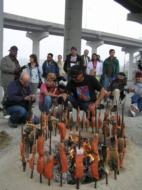 People enjoy a rare salmon feast