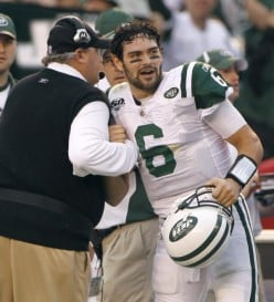 New York Jets quarterback Mark Sanchez celebrates with coach Rex Ryan during the fourth quarter against the San Diego Chargers in an NFL divisional playoff football game, Sunday, Jan. 17, 2010, in San Diego. (AP Photo/Jeff Chiu)