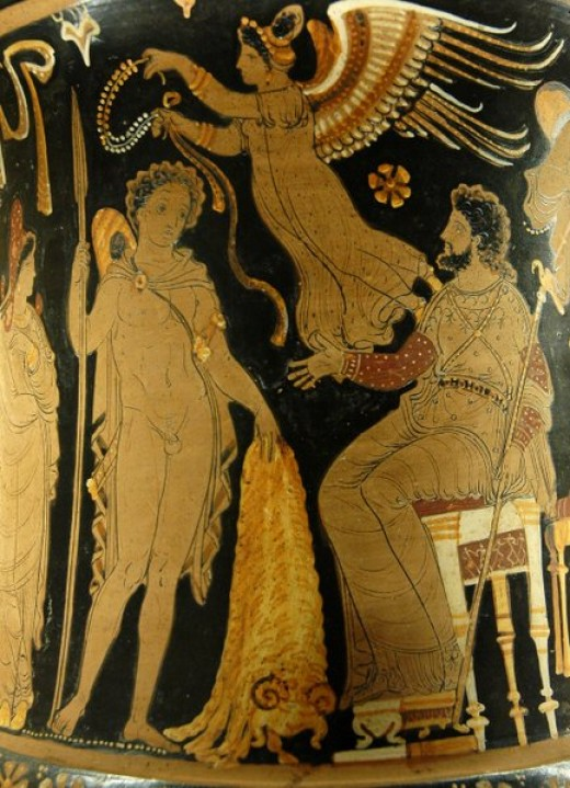 Jason and the Golden Fleece. Apulian red-figure calyx crater, 340 BC330 B.C.  Public Domain. Courtesy of Marie-Lan Nguyen/Wikimedia Commons.