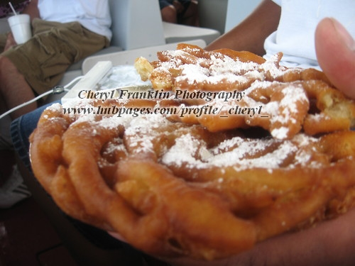 My husband with his funnel cake.