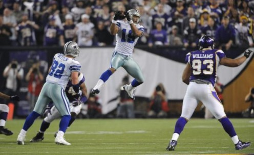 # Dallas Cowboys' Miles Austin (19) catches a pass during the first half of an NFL divisional playoff football game against the Minnesota Vikings Sunday, Jan. 17, 2010, in Minneapolis. (AP Photo/Hannah Foslien)
