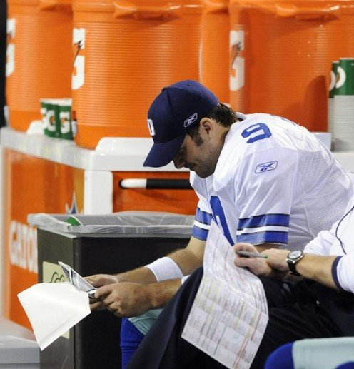 Dallas Cowboys' Tony Romo is seen on the bench during the second half of an NFL divisional playoff football game against the Minnesota Vikings Sunday, Jan. 17, 2010, in Minneapolis. (AP Photo/Jim Mone)