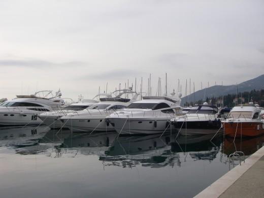 A marina with its many yachts