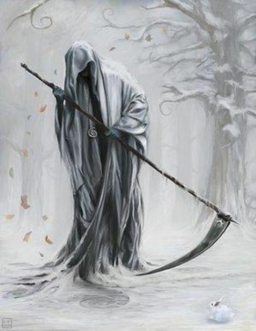 Grim Reaper often represents death.  Image copied from dansemacabre.files.wordpress.com
