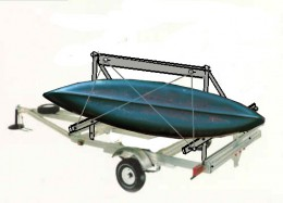 The A-Frame trailer carries 2 to 3 canoes or kayaks with the outside ones turned up on one side.