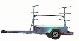 Here is a T-Frame built on a utility trailer chassis. This version can carry 4 to 6 boats.