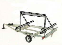 The A-frame is simply 2 A's bolted front and back to the trailer and braced lengthwise.