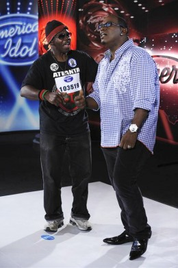Randy Jackson with General Larry Platt on American Idol after singing Pants on the Ground