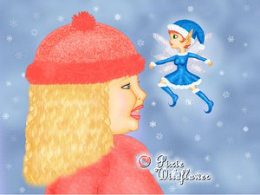 "Snow Spells"" - Cathy's Winter submission for the book. Created digitally in Paint Shop Pro 9. Her great niece Hannah is the inspiration for the little girl looking at the Faery in wonder. The Faery reminds her of Pullips dolls."
