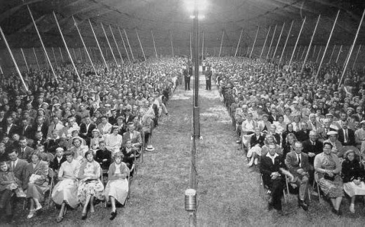 Tent meetings were the rage in the 19th century.  In some circles they remained popular well into the late 20th century.
