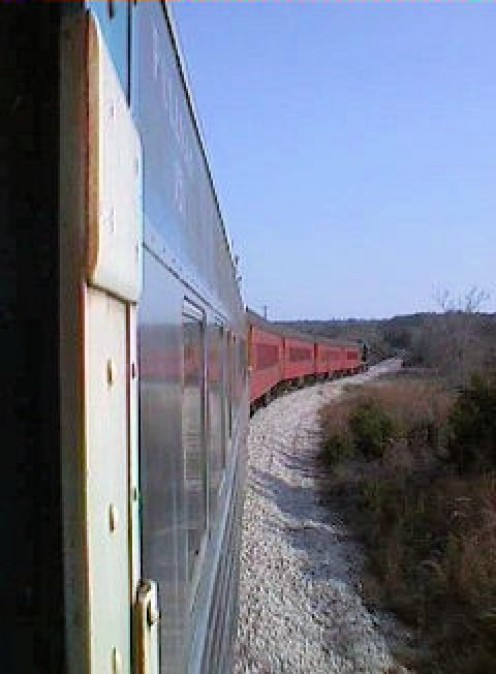 Our train rounding the curve. Photo by L.A. Cargill
