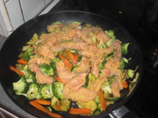 adding the salmon