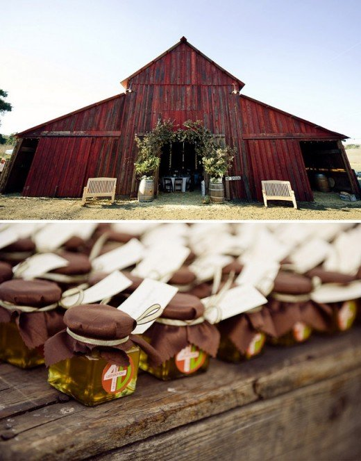 Keep the entrance to the barn nice and simple. Also, adding jars filled with honey, in any size or variety adds an enhanced look to the guest tables.  I also love to see a variety of fresh jars of honey sitting on the barns window sill.  The golden f