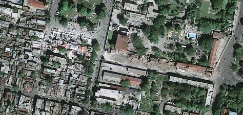 Satellite view of Port-au-Prince, Haiti Earthquake damage.
