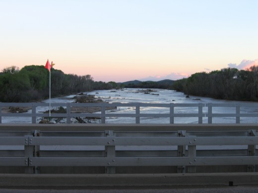 When the Hassayampa river flows, the water runs south and downward toward the Phoenix metro area.