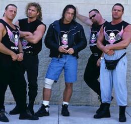 Hart Foundation in 1997: from left; Owen Hart, Brian Pillman, Bret Hart, Jim Neidhart and Davey Boy Smith