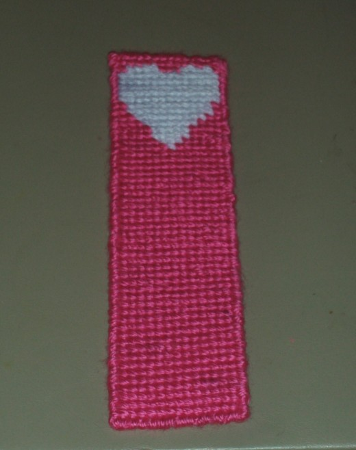Here I have completed stitching in the bookmark.