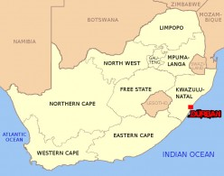 Map of South Africa. Durban highlighted.