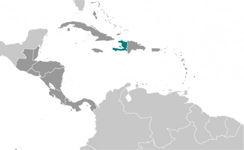 Haiti is in green; Cuba just to the northwest (public domain, CIA).
