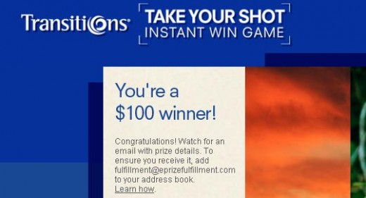 A $100 instant win is always a thrill!
