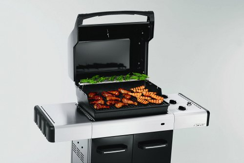 How much food will barbeque depends on both the temperature and the size of the cooking surface of the grill.